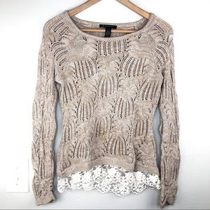 INC Brown Knitted Sweater with Lace PM